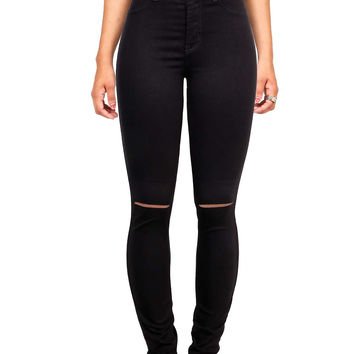 Slashed High Waist Skinny Pants
