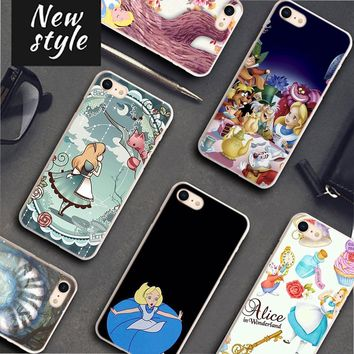 BiNFUL alice in wonderland Pattern Transparent frame Hard Phone Cases Cover for Apple iPhone 7 8 7Plus X 6 6s 6Plus 5 5S 4S