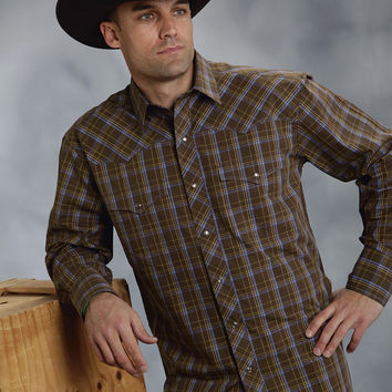 Roper Mens 9355 Cocoa Plaid - Flat Weave Amarillo Chocolate Diamonds Group Long Sleeve Shirt Snap Closure - 2 Pocket