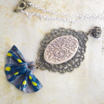 Baroque Necklace , Fan Necklace , Artisan Ceramic necklace , vintage charm necklace , romantic Jewelry