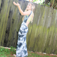 Tie Dye Backless Maxi Dress with High Low Hem