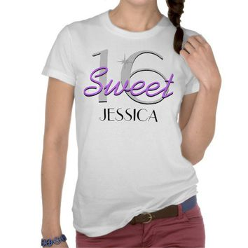 Personalized Sweet 16 Purple Sparkle Tee Shirts from Zazzle.com