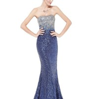 Ever Pretty Womens Long Formal Evening Gown 12 US Sapphire Blue