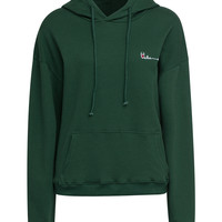 Green Embroidery Letter Long Sleeve Hoodie