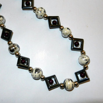 Black, Purple and White Beaded Necklace
