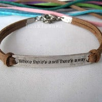 Motto (where there's a will there's a way) bracelet,Brown South Korea velvet rope personality jewelry,Bestfriend gift
