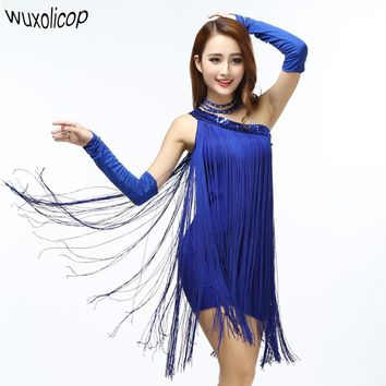 Women Sequin Dress Sexy One Shoulder Slim Flare Latin Tango Dance Fringe Tassel Dress Sleeveless Mini Sloping Shoulder