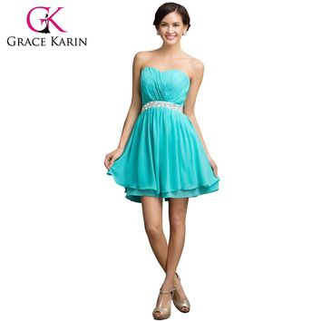 Grace Karin Bridesmaid Dresses Short Chiffon New Cheap Sweetheart Turquoise Bridesmaid Dress Short Prom Dresses Beading 2017
