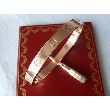Cartier-Love-Bracelet 18k Rose Gold Authentic Size 18