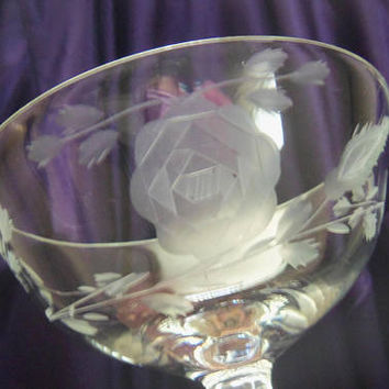 Five Crystal Champagne Coupes, Wheel Cut Rose Design, Lady Leg Stem, Vintage Hand Blown Barware, Grey Cut Floral