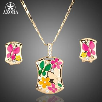 AZORA Gold Color Multicolour Flower Clip Earrings and Pendant Necklace Jewelry Sets TG0002