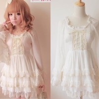 Kawaii Cute Sweet Dolly Lolita Lace Princess Sleeve Chiffon cake Dress White M