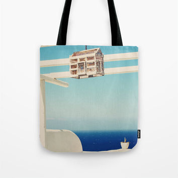 Art Tote beach Bag Endless Sea Photography Fashion summer Mediterranean Sea ocean Greece Greek Blue white wash island paradise bird cage