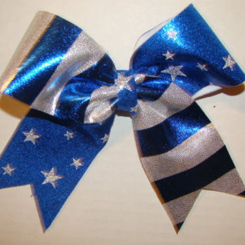 Small Blue and White Stripes with Blue Stars Cheer Bow
