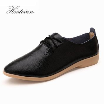Women' Shoes Casual Ballet Soft Genuine Leather Loafers Slip On Woman Flats Shoe Flexi