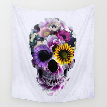Floral Skull Wall Tapestry by RIZA PEKER