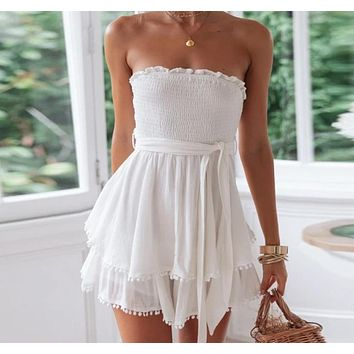 Kimberlane Off Shoulder Strapless Cotton Linen Romper