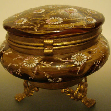 Antique Glass Box Brown Flowered Glass Powder or Jewelry Box Hinged and footed