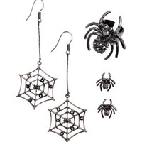 Black Crystal Spider Earrings, Studs & Ring SET