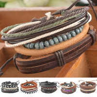 1Set 4pcs Braided Adjustable Leather