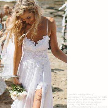 Womens Trendy Lace Fashion Beach Slip Dress