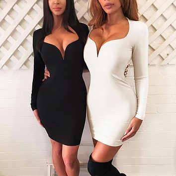 Autumn Winter Women Simple Fashion Solid Color Deep V-Neck Long Sleeve Bodycon Mini Dress