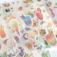 6 cocktail drink sticker iced drink summer drink party drink Stickers drinking party themes sticker food Planner party planner deco sticker