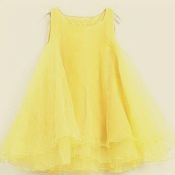 Yellow Beam Waisted Scoop Neck Voile Ball Gown Dress
