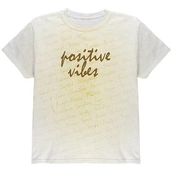 Inspirational Words Positive Vibes All Over Youth T Shirt