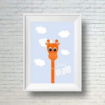 Giraffe Nursery Art Print, Printable Nursery Art, Dream Big print, Kids Room Wall Print