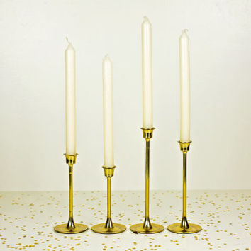 tiered solid brass candle holders / antique brass candlestick set / brass decor