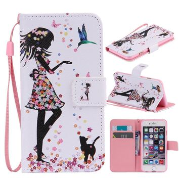 Women Fashion Girl Flip Leather Wallet Credit Card Holder Case Stand Cover With Strap For iPhone 4 / iPhone 4s / iPhone 5 / iPho