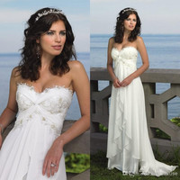 Custom Best Selling Beach Wedding Dresses Sweetheart Empire Waist Floor Length Lace Chiffon Bridal Gowns Summer Wedding Dresses = 1931618436