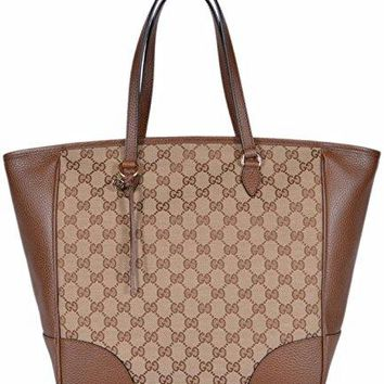 Gucci Women's Large Canvas Leather Bree GG Guccissima Handbag Tote (Beige/Brown 449242)
