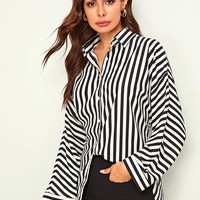 Vertical-striped Button Front Curved Hem Blouse