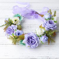 simulation penny flower wreath headband women Rattan simulation flower head festival wedding Ribbon Adjustable girl flower crown