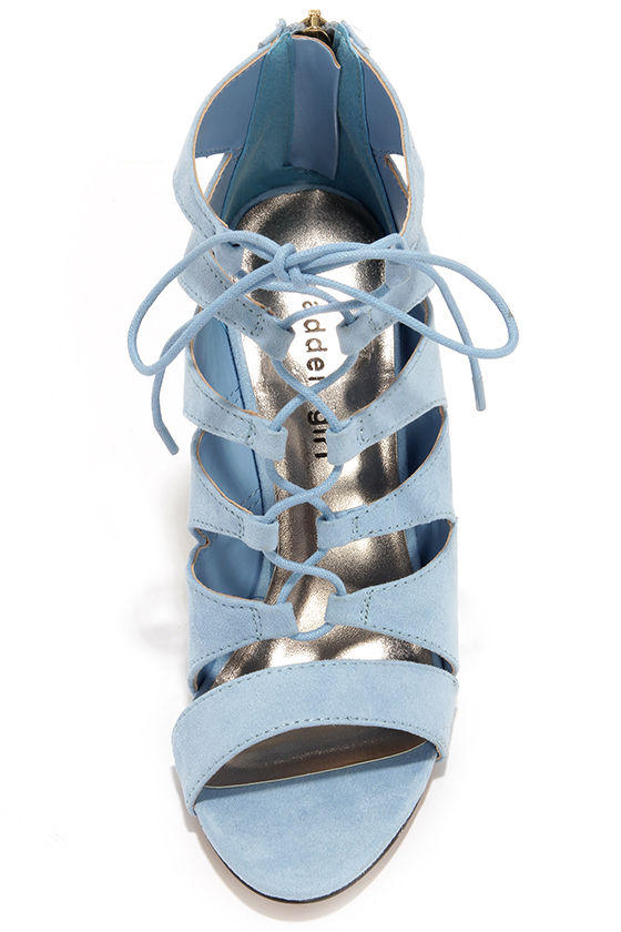 2c458fa1657e Madden Girl Raceyyy Baby Blue Suede Lace-Up Heels