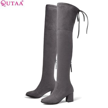 QUTAA 2019 Women Over The Knee High Shoes Platform Zipper All Match Square High Heel Sexy Winter Boots Women Boots Size 34-43