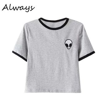 Women Hipster Harajuku Cute Stripe Short Sleeve Cotton Tshirts Crop Top Tee Alien Embroidery T Shirt 9176