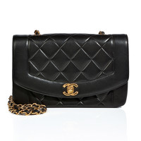 Chanel Vintage Jewelry - Quilted Leather Panel Mini Flap Bag in Black