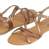 Womens Roman Gladiator Sandals Flats Strappy Shoes 4 Colors (8, Brown 2619)