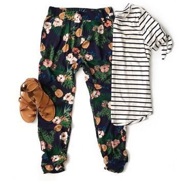 Navy Tropical Print Pants