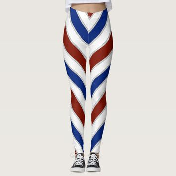 Red White Blue Nautical Stripes & Rope Leggings