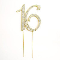 Sweet 16 Gold Crystal Rhinestone Cake Topper Birthday Party Favor Bling Decor