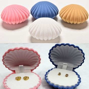 YITING 4 Colors Shell Velvet Earring Jewelry Storage Box Christmas Gift Use Pendant Locket Jewellery Stand Case