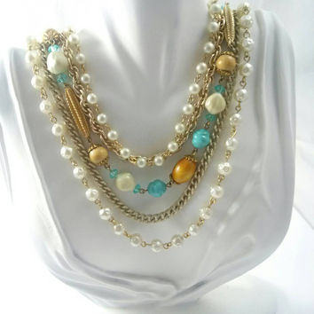 Vintage Multi Strand Necklace Gold Tone Wood Faux Pearl Turquoise Colored Beads