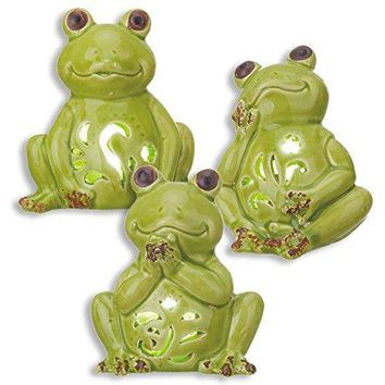 "Tii Mini 3.5"" Ceramic Light Up LED Green Frogs (Set of 3) Pond Animal Figurines"