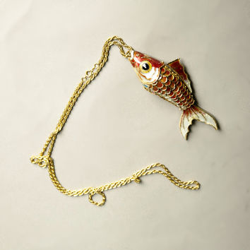 Colorful Fish Pendant Golden Chain Necklace Bold Big Novelty Vintage Jewelry