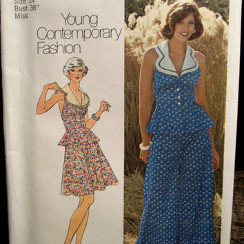 Vintage 70s Simplicity 63867 Peplum Halter Top with Palazzo Pants or Skirt Vintage Sewing Pattern Size 14 Bust 36 UNCUT
