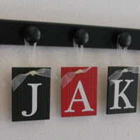 Pirate Ship Nautical Personalized Gift, Nursery Name Wood Sign - JAKE with Pirate Ships includes 6 Hooks Painted Nameplate in Black and Red